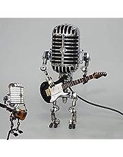 Retro Microfoon Robot Touch Dimmen Lamp Tafellamp-Robot Tafellamp met Gitaar Kantoor Woonkamer Slaapkamer Decoratie (met Lamp)