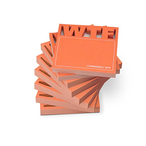 Die Cut Sticky Notes - Knock Knock 8-Count Sticky Note Pads, Die Cut WTF (12564-8)