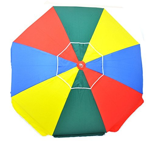 7.5 ft Frankford 50 UPF Wood Beach Umbrella - Olefin Fabric with Carry Bag ()