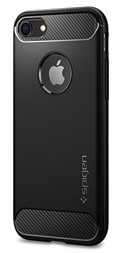 Spigen Rugged Armor iPhone 8 Case / iPhone 7 Case with Resilient Shock Absorption and Carbon Fiber Design for Apple iPhone 8 (2017) / iPhone 7 (2016) – Black