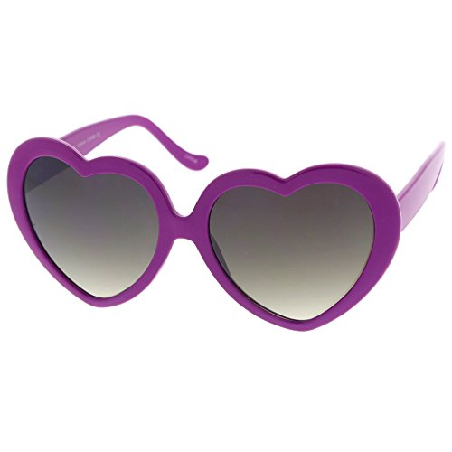 (Women's Oversize Gradient Lens Heart Sunglasses 55mm (Purple/Lavender))