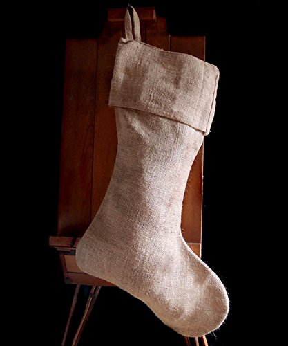 AK-Trading Burlap Jute Holidays Christmas Stockings - Pack of 6 (Natural Burlap, 10'' 24''H x 14'' foot) by AK TRADING