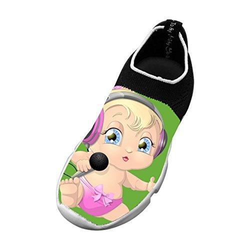 Baby Enjoying Music Customized Printing Children's Slip-on Flyknit Outdoor Sport Shoes