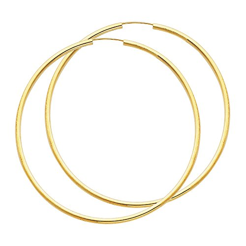 (14k Yellow Gold 2mm Thickness Endless Hoop Earrings (65 x 65 mm))