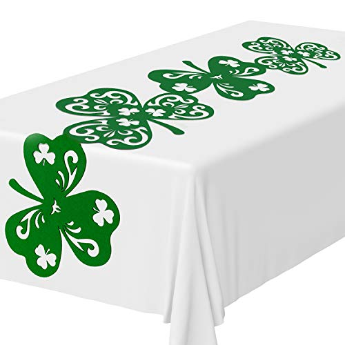 Shamrock Table Runner - Whaline Shamrock Table Runner, Felt Green Irish Table Top Decoration Lucky Clover Table Scarf for St. Patrick's Day Party and Spring Home Dinner Decoration