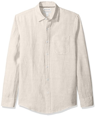 Amazon Essentials Men's Slim-Fit Long-Sleeve Linen Shirt, Natural, - Plain Shirt Linen Mens