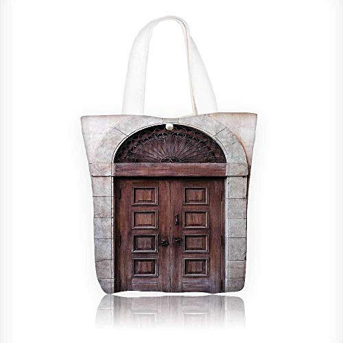 Canvas Tote Bag eArched Wooden Venetian Door with Islamic Royal Ottoman Elements European Culture Hanbag Women Shoulder Bag Fashion Tote Bag W11xH11xD3 INCH by Jiahonghome