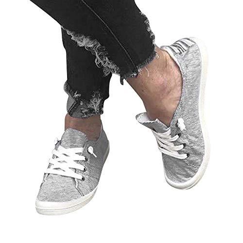 36 Mode Confortables 41 de Couleur de Femmes Unie À pour Sneakers Chaussures EU Lacets Course Toile Chaussures Baskets Étudiants GongzhuMM Gris zwtqnxTaa