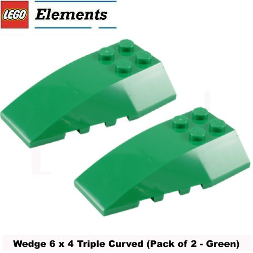Lego Parts: Wedge 6 x 4 Triple Curved (Pack of 2 - Green) (Lego Superman Vs Power Armor Lex compare prices)