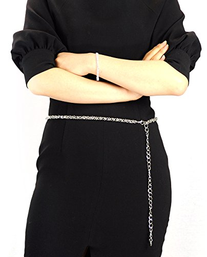 Belt Silver Link Chain Tone (NYFASHION101 Silver-Tone Dressy Adjustable Single Link Belly Chain Belt IBT1014R)