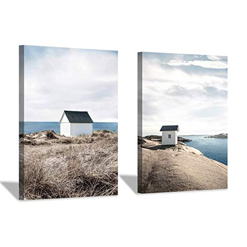 Hardy Gallery Beach House Artwork Canvas Print: Coastal Scenes Painting Print Graphic Art Set for Wall Art(18''x24''x2pcs)