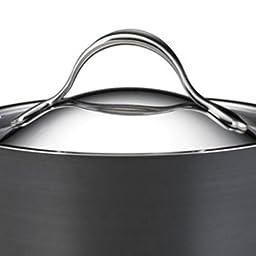 Anolon Nouvelle Copper Hard Anodized Nonstick 5.5-Qt. Covered Saucier with Helper Handle
