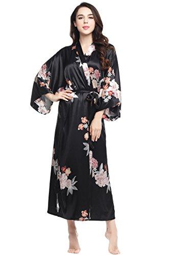BABEYOND Floral Kimono Robe Satin Silk Wedding Robe Nightgown Sleepwear 53