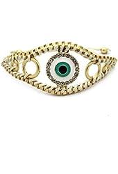 Pull String Ivory and Matte Gold Evil Eye Bracelet - Metal and Thread Bracelet