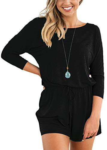 Casual Jumpsuit Womens Clothing Summer Fall Loose Fit Pocket Romper Black XL by Halife