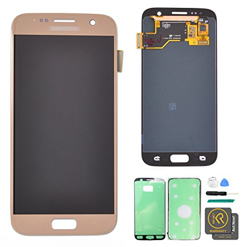KR-NET LCD AMOLED Display Touch Screen Digitizer Assembly for Samsung Galaxy S7 G930 G930F G930A G930V G930P (Gold Platinum) + Tools by KR-NET