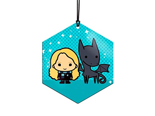 Trend Setters Ltd. - Harry Potter - Luna Lovegood and Thestral - Hexagon Metal Hanging Decoration - Lightweight Aluminum - Officially Licensed Collectible- Image Fused Permanently into Metal