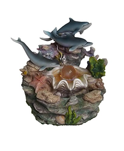 SINTECHNO SNF12031-2 Artistic Sculptural Dolphins & Crystal on Shell Tabletop Water Fountain
