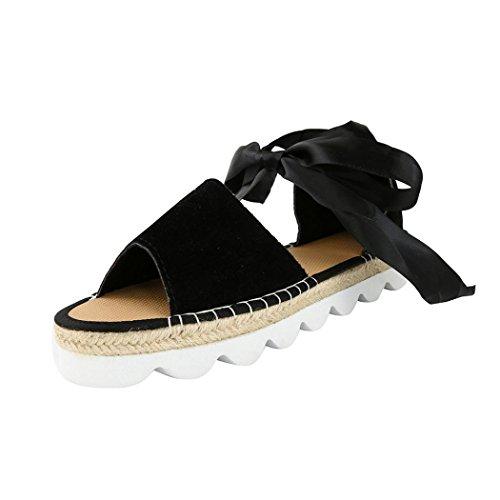 BZLine® Frauen Sommer-Chunky Feiertags-Sandelholz-Schuhe Sandalen Schwarz