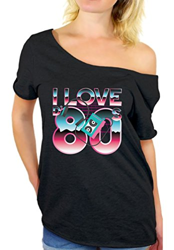 Awkward Styles I Love The 80's Off The Shoulder Tops Women's Disco Vintage Shirt Black (Love 80s T-shirts)