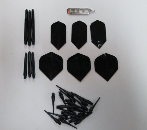 BLACK Soft Tip Darts Accessory Kit flights tips shafts halex case tool