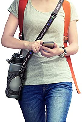 Instantly Folded into Pouch Not Use for Carry Water Bottle Sling Bag with Carabineer for Outdoor-Black ,Bottle Carrier with Detachable Adjustable Shoulder Strap Glovion Portable Water Bottle Holder