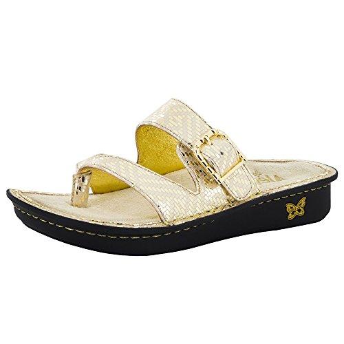 Alegria Womens Valentina Thong Sandal Gold Dazzler Size 37 EU (7-7.5 M US Women)