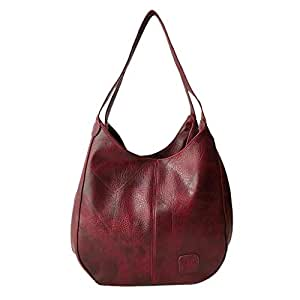 Wultia - Bag Women Fashion Women's Soft Leather Shoulder Bag Multi-Function Large Hand Bag Bolsa Feminina *0.92 red