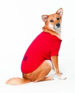 Fashion Pet Lookin Good Bone Patch Cable Sweater for Dogs, Large, Red