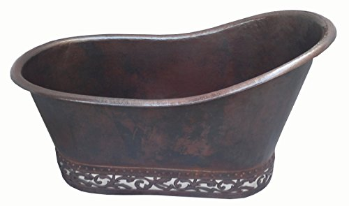 Mexican Copper Bathtub Hand hammered Embossed Design Soaking Tub Single Slipper 60 inches