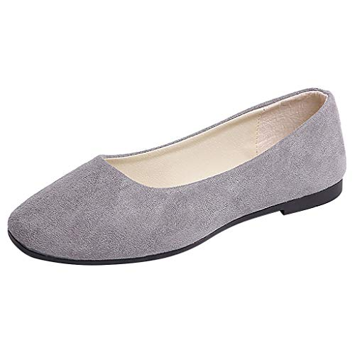 Cru Cognac - TANGSen Women Casual Solid Color Flat Shoes Ladies Fashion Slip On Shallow Single Shoes Leisure Comfort Walk Shoes Grey