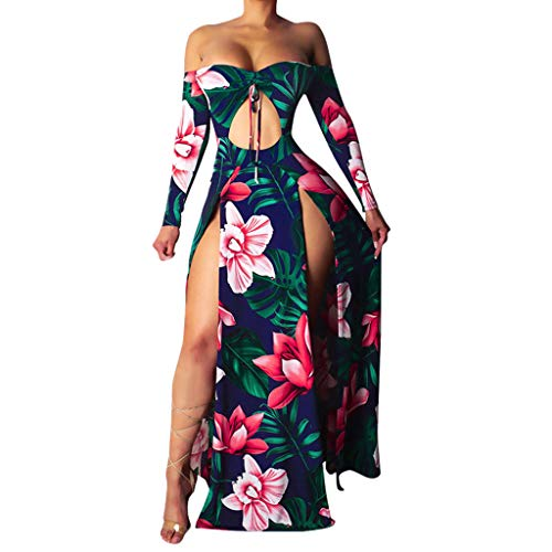 - Aniywn Women's Long Sleeve Off Shoulder Boho Floral Print Beach High Split Maxi Dress Holiday Party Dress Red