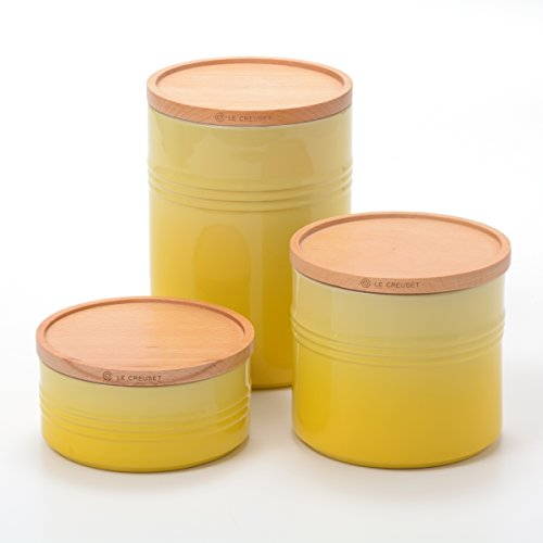 (Le Creuset Soleil Stoneware 3 Piece Canister with Wooden Lid Set)
