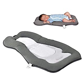 Newborn Lounger Pillow, Infant Baby Sleep Mattress, Baby Lounger, Portable Baby Bed, Infant Pillow Mattress, Machine Washable, Gray