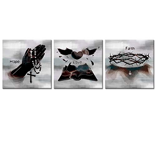 Welmeco Canvas Wall Art Abstract Cross Bible Crown of Thorn Giclee Prints Inspirational Love Hope Faith Poster Motivation Words Picture Framed and Stretched for Home Office Bedroom Decoration