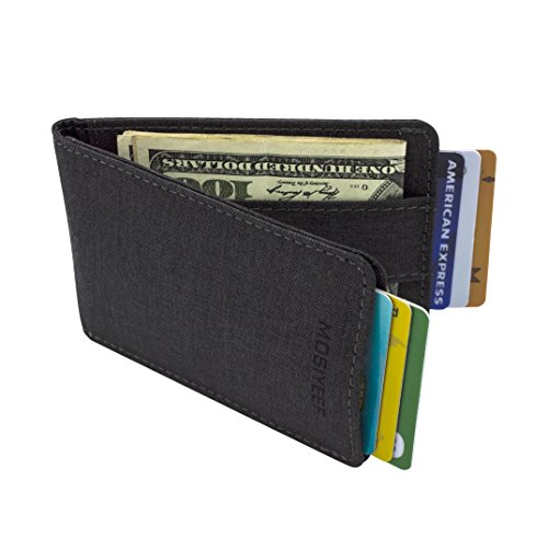 MOSIYEEF Slim Front Pocket Wallets RFID Blocking credit card holder with Money Clip Strap and ID Card Window