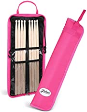 Flexzion Drumsticks Gig Bag, Percussion Music Accessory Case w/a Hook, Adjustable Shoulder Strap, Carrying Handle & Card Holder for 4 Pairs of Drumstick, Kid Drummer, Water-Resistant Fabric