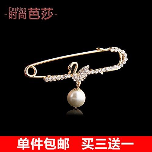 (Buy 3 Get a special custom sweater shawl large brooch Korean female white water pearl brooch diamond swan animal accessories)