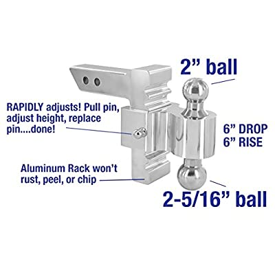 RAPID HITCH 3410-25 | Andersen Hitches | Adjustable Ball Mount | 6 Inch Drop/Rise | Adjust RAPIDLY-Pull Pin, Adjust, Slip Pin Back! | Includes 2