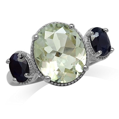 Natural Sapphire Green (3.83ct. 12x10MM Natural Oval Shape Green Amethyst & Black Sapphire 925 Sterling Silver Ring Size 7)