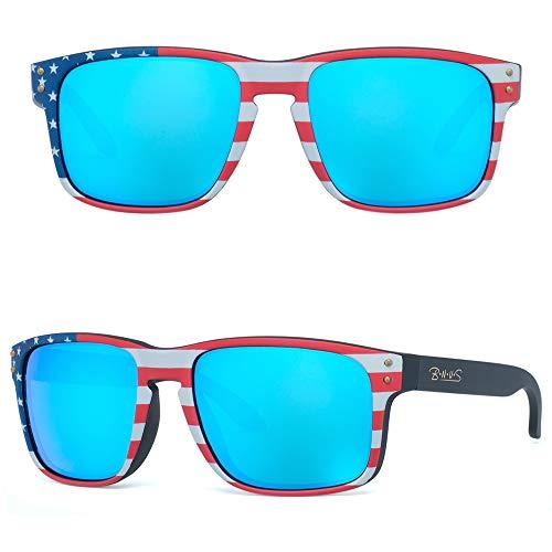 Bnus italy made classic sunglasses corning real glass lens sunglasses polarized USA flag (Black Arm-Flag/Blue Flash Polarized, Polarized Size:56mm(M))