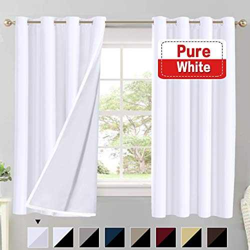 Flamingo P Blackout Pure White Curtains Faux Silk Satin with White Liner Thermal Insulated Window Treatment Panels for Living Room, Noise Reducing Drapes, Grommet Top (52 x 63 Inch, Set of 2)