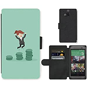 Hot Style Cell Phone Card Slot PU Leather Wallet Case // M99999611 Business Woman Cartoon // HTC One M8