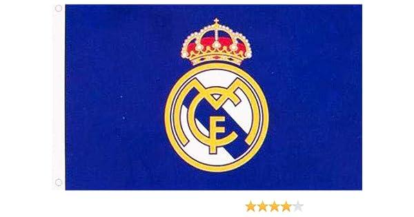 AES Real Madrid Bandera Escudo Azul 3x5 Merchandising Autentico ...