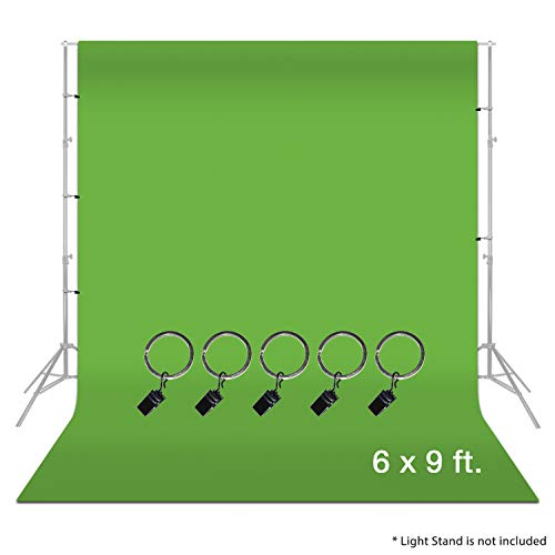 LimoStudio 6 x 9 ft. Green Muslin Backdrop with Ring Metal Holding...