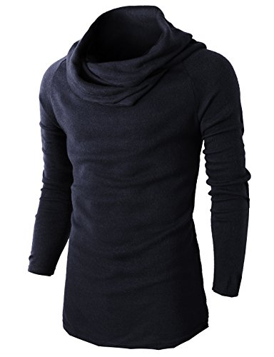 H2H Mens Fashion Turtleneck Slim Fit Mid Weight Pullover Sweater With Shirring Neck line NAVY US XL/Asia XXL (KMTTL047) - Navy A-line
