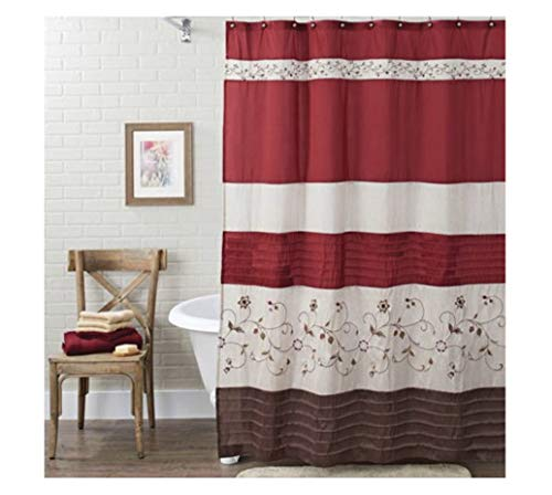 Better Homes and Garden Fabric Shower Curtain - Floral Embroidery (Red/Brown, 72