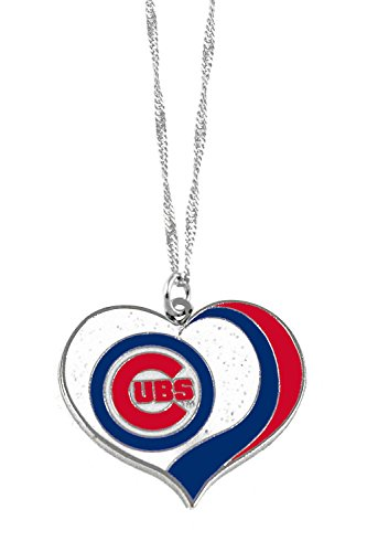 - aminco Chicago Cubs MLB Sports Team Logo Charm Gift Glitter Heart Necklace