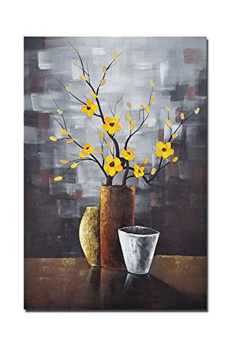 - Wieco Art Silent Beauty Modern Abstract Flower Oil Paintings on Canvas Wall Art for Bedroom Living Room Wall Decorations Home Decor 100% Hand Painted Stretched and framed Contemporary Floral Artwork
