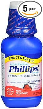 Phillips Milk of Magnesia Concentrated Liquid Fresh Strawberry Flavor - 8.0 oz, ...